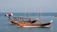 Traditional arabic dhows in Doha, Qatar video