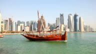 Traditional arabic dhows in Doha. Qatar video