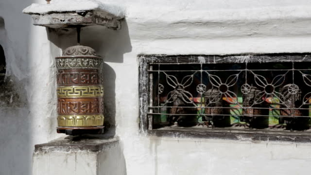 Traditional Buddhist Praying Mills in Bodnath, Nepal video