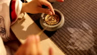 traditional chinese culture burn incense powder indoor video