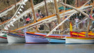 Traditional colorful sailboat in Collioure harbor - France - Europe video