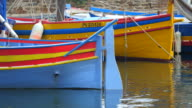 Traditional colorful small boat - Collioure Harbor - France in Europe. video