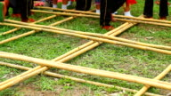 Traditional dance with native bamboo stick video