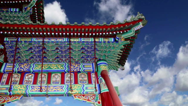 Traditional decoration of the roof of a Buddhist temple, Beijing, China video