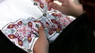 Traditional Greek embroidered handicraft video