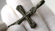 traditional medieval Christian pectoral cross video