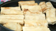 Traditional russian pancakes with curd. Close up video