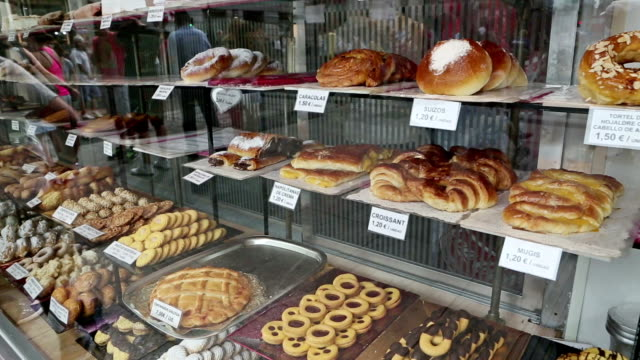 Traditional Spanish sweets and cakes in a shop video