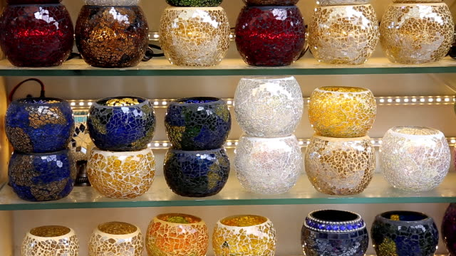 Traditional Turkish ceramics on Istanbul Grand Bazaar in Istanbul video