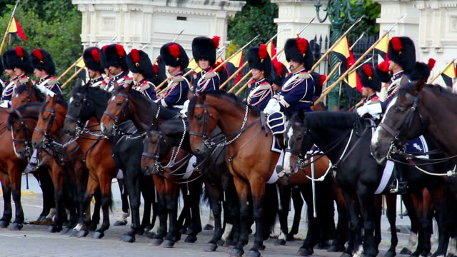Traditional uniform Belgium cavalry on royal parade horse riders. Beautiful shot of Europe, culture and landscapes. Traveling sightseeing, tourist views landmarks of Belgium. World travel, west European trip cityscape, outdoor shot video