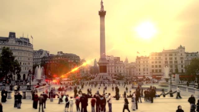 Trafalgar Square, London sunset. HD video
