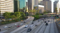 Traffic and downtown Los Angeles California video