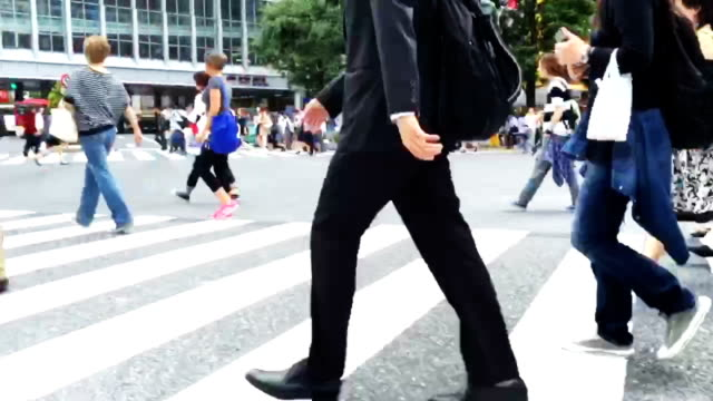 Traffic and People at the Shibuya Crossing in Japan video