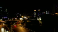 traffic and skyline of chongqing city at night video