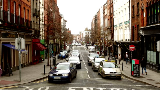 Traffic at an Intersection in Dublin Ireland video