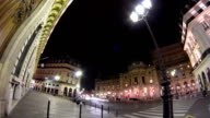 Traffic at the street near Opera National de Paris in the nighttime. Grand Opera Paris, France timelapse hyperlapse video