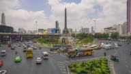 Traffic At Victory Monument In Bangkok city,Hyperlapse video