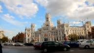 Traffic Cibeles Square, Madrid. Timelapse video