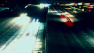 Traffic Freeway Night Time-lapse= video