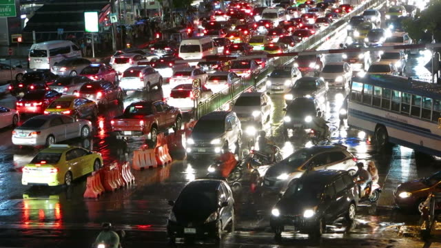 Traffic in Asia after the heavy rain video