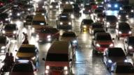 Traffic in Bangkok at night video