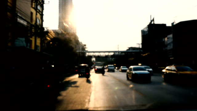 4K WS: Traffic in Downtown Bangkok in Sunset Time, Thailand video