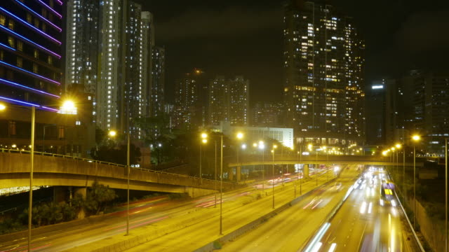 Traffic in downtown Hong Kong at night,panning left time lapse. video