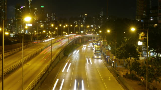 Traffic in downtown Hong Kong at night,panning right time lapse. video