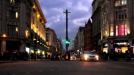 Traffic In London Oxford Circus At The Blue Hour video