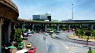 traffic in modern city, Victory Monument, Bangkok Thailand video
