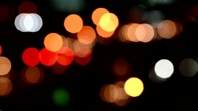Traffic jam at night with defocused light mode video