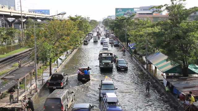 Traffic jam from flood situation. video