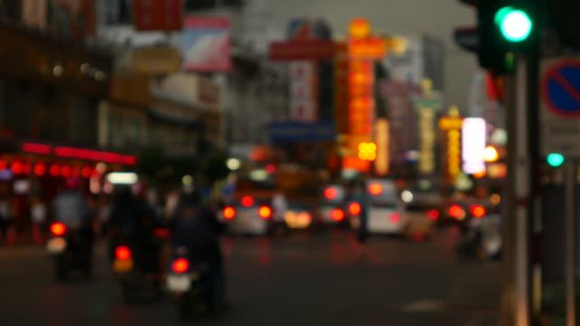 Traffic jam in China town at night Bangkok Thailand video