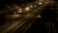 Traffic jam on a highway at night video
