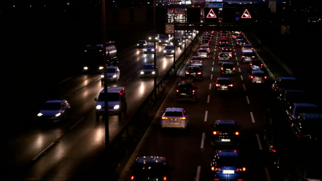 Traffic Jam on Highway at night, Real Time video