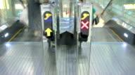 Traffic lanes sign on escalator video