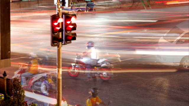 Traffic light and motorcycle in Bangkok, Thailand video