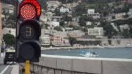 Traffic light before entering the port video