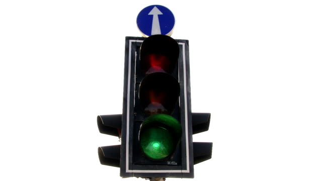 Traffic light. Green to red. Loop. Isolated white. video