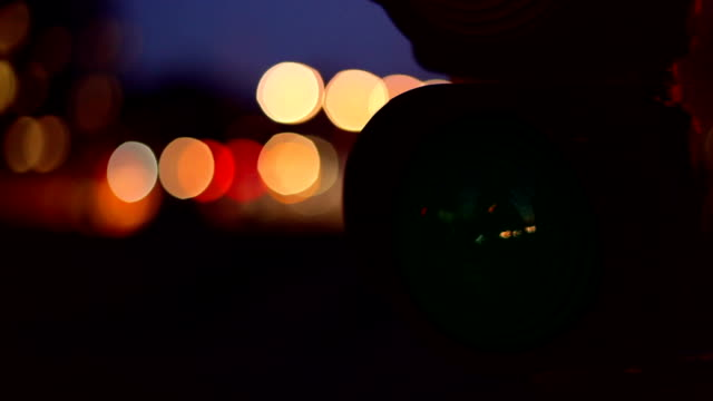 traffic light in the night - time lapse video