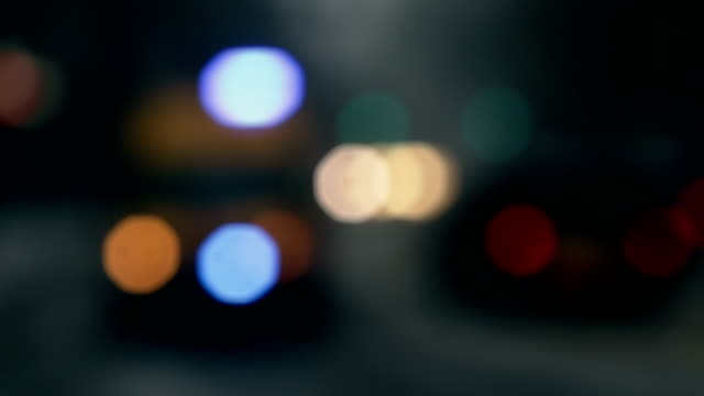 traffic lights on the road, bright and colorful blurred video