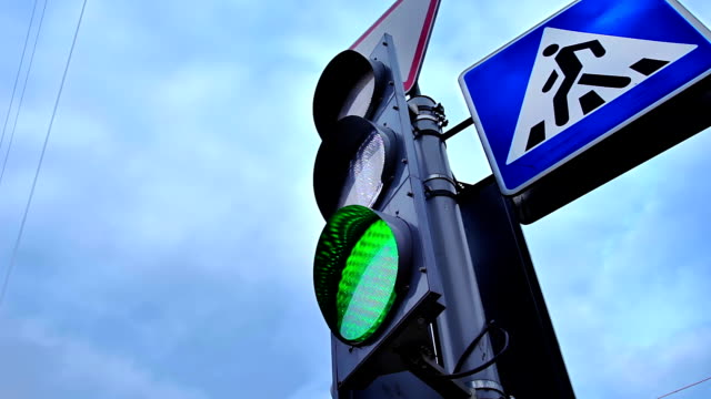Traffic Lights With Pedestrian Crossing Sign video