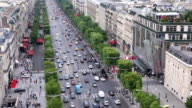 Traffic of Champ Elysees street from Arc Triomphe video