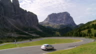 Traffic on Alpine Mountain Pass in Autumn video