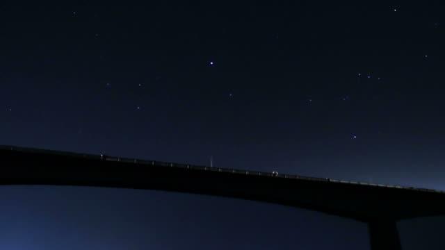 Traffic on bridge at night. video
