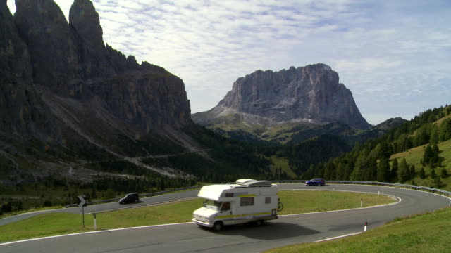 Traffic on Dolomites Mountain Pass TL video