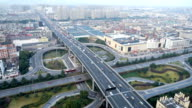 traffic on elevated road through modern city video