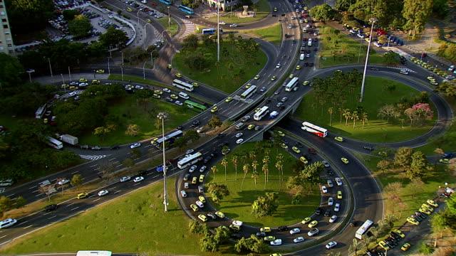 Traffic on freeway intersection, Rio de Janeiro, Brazil video