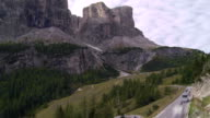Traffic on Gardena Pass in the Dolomites Mountains TL video