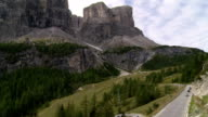 Traffic on Gardena Pass in the Dolomites Mountains video